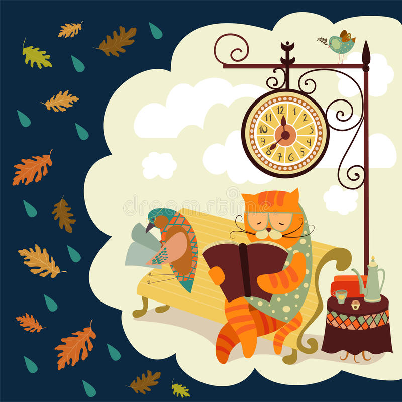 Cat and bird reading a book royalty free illustration