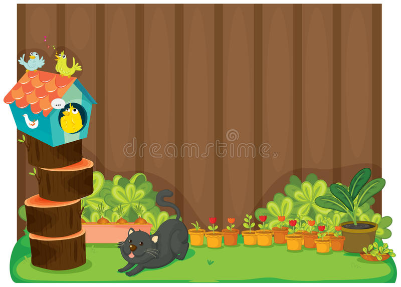 Download Cat and birds stock vector. Illustration of sketch, blank - 24321652