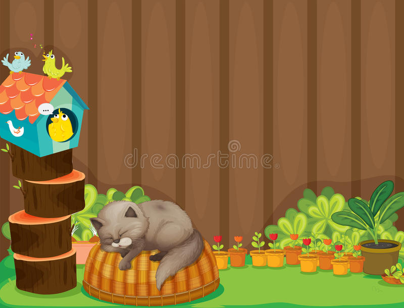 Download A cat and the birds stock vector. Illustration of birdhouse - 32733769