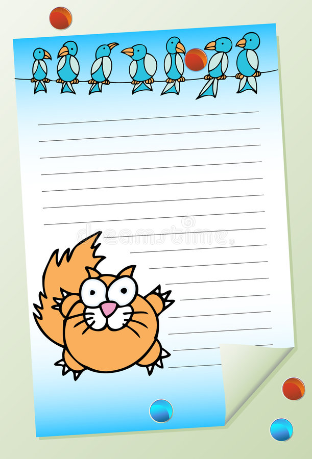 Download Cat with Birds Notepad stock vector. Illustration of notepad - 9314670