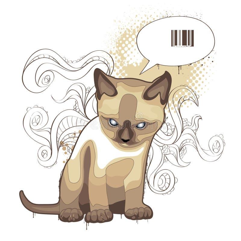 The cat on bizarre background stock illustration