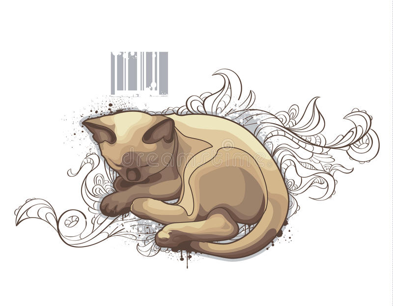The cat on bizarre background vector illustration
