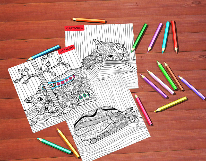 The Cat book - adult coloring books, stress relieving trend royalty free stock photos