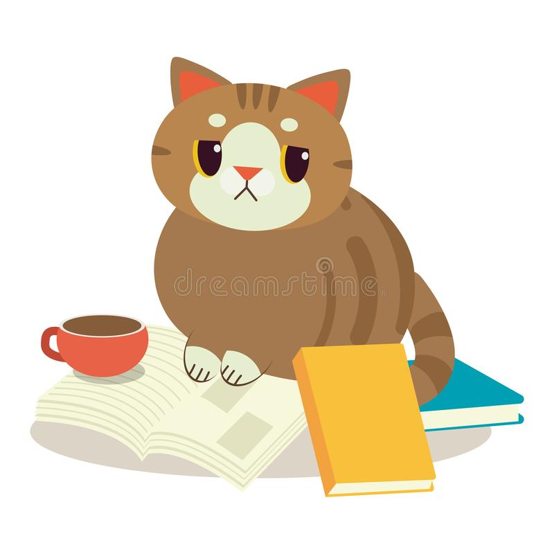 A cat with a book. A cat look very bored siting on pile a book. A cute character of cat with a book.element of book. tea or coffee royalty free illustration