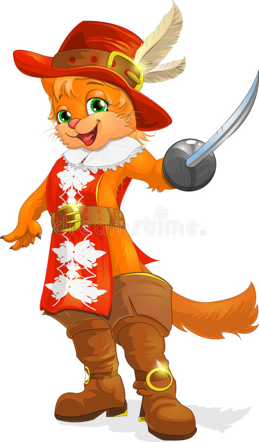Cat in boots. The fantastic character a cat in boots stock illustration