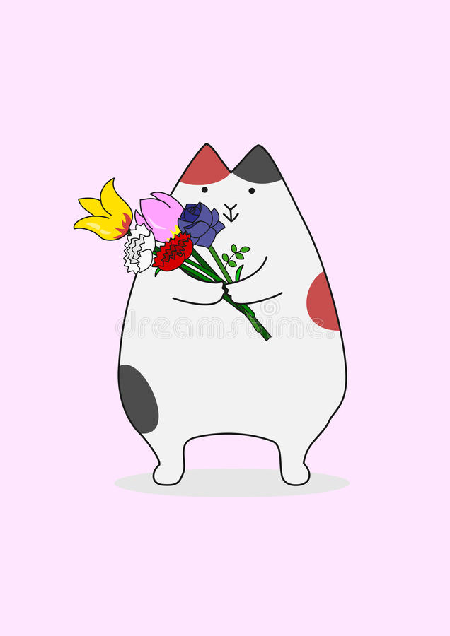 Cat with a bouquet. Cute Cat with a bouquet for gift vector illustration