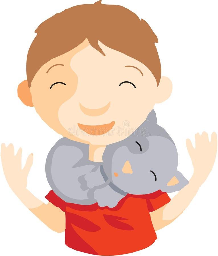 Download Cat and boy stock illustration. Illustration of friendship - 28523046