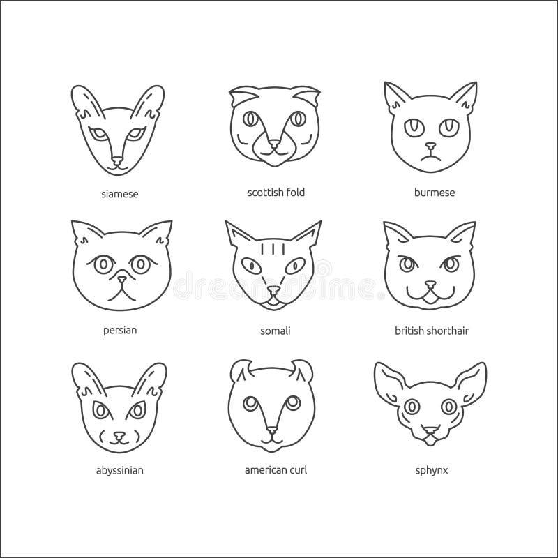 Cat breeds line icon set. stock illustration