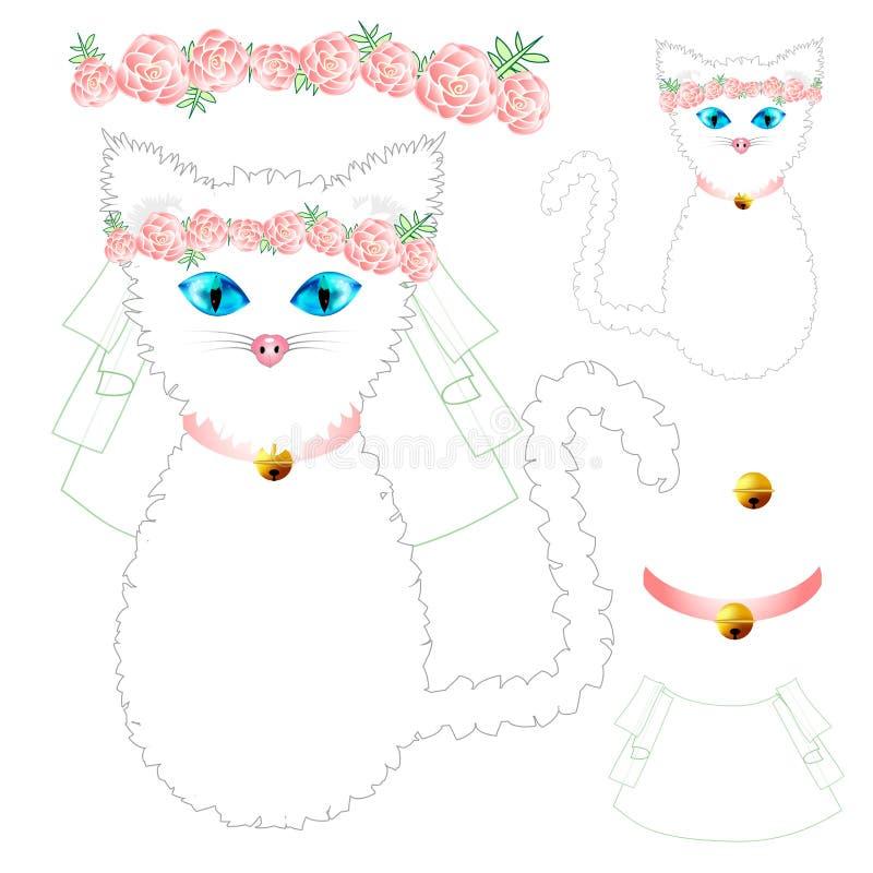 Cat Bride branca com olhos azuis, coroa Rose Flower cor-de-rosa, colar dourado da bola Dia do Valentim Ilustração do vetor ilustração royalty free