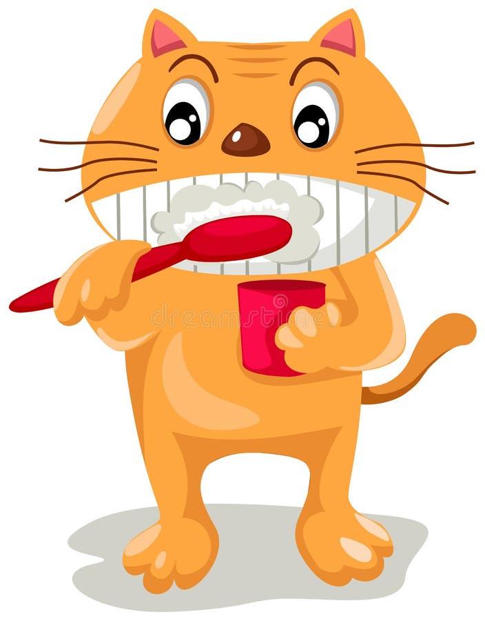 Cat brushing teeth royalty free illustration