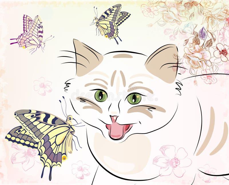 Cat and butterflies