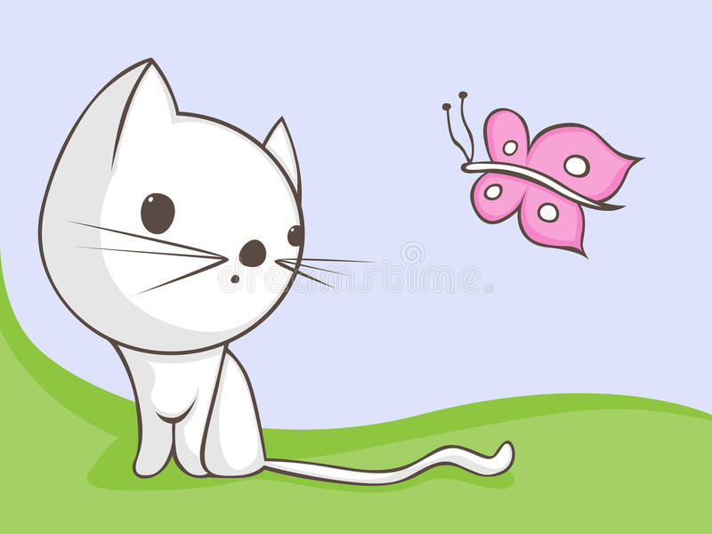 Cat with butterfly vector illustration