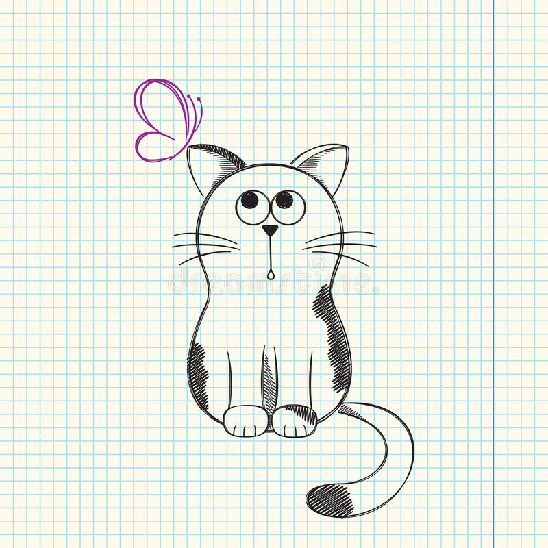 Cat with butterfly royalty free illustration
