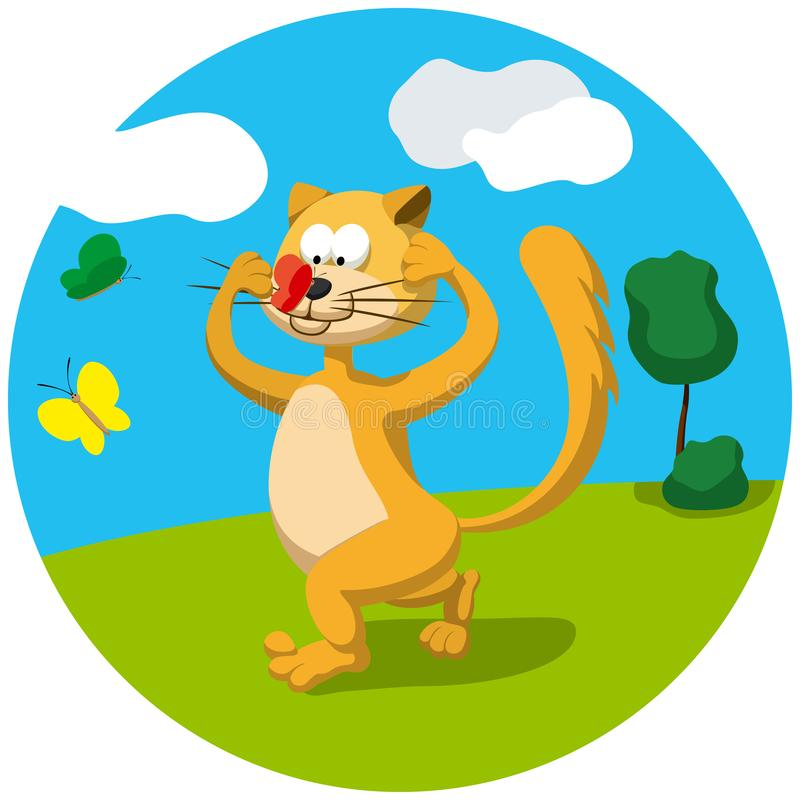 Cat and butterfly. Illustration cartoon running cat trying to catch a butterfly sitting on its nose royalty free illustration