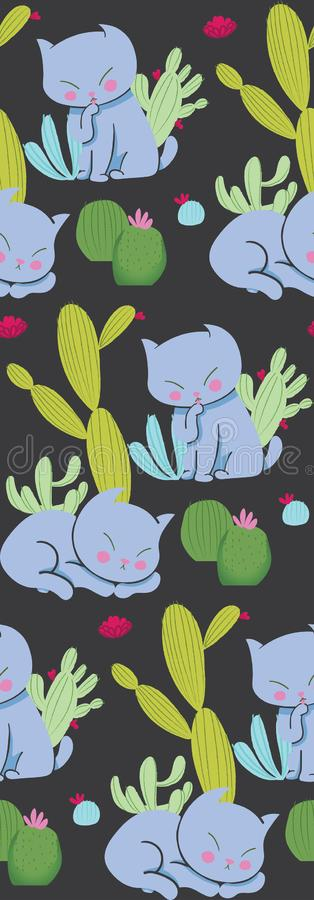 Cat and cactus seamless pattern on dark background. Cute animal pattern for textile design, stationery, nursery, kids decor vector illustration