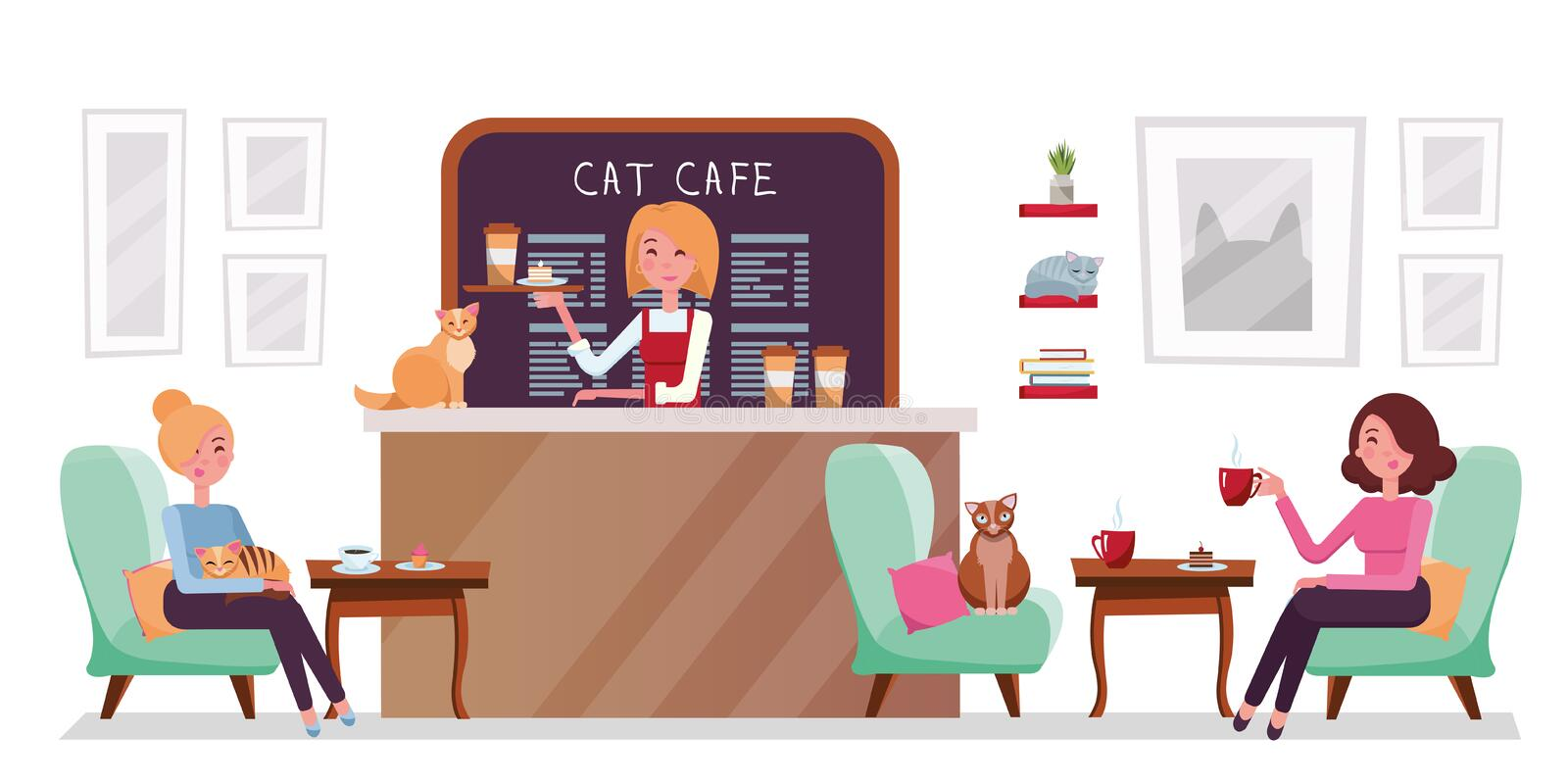 Cat cafe shop, people relaxing with kitties. Place interior to meet, drink and eat, chat, have a rest with pets, barista girl with. Tray with cake and coffee vector illustration