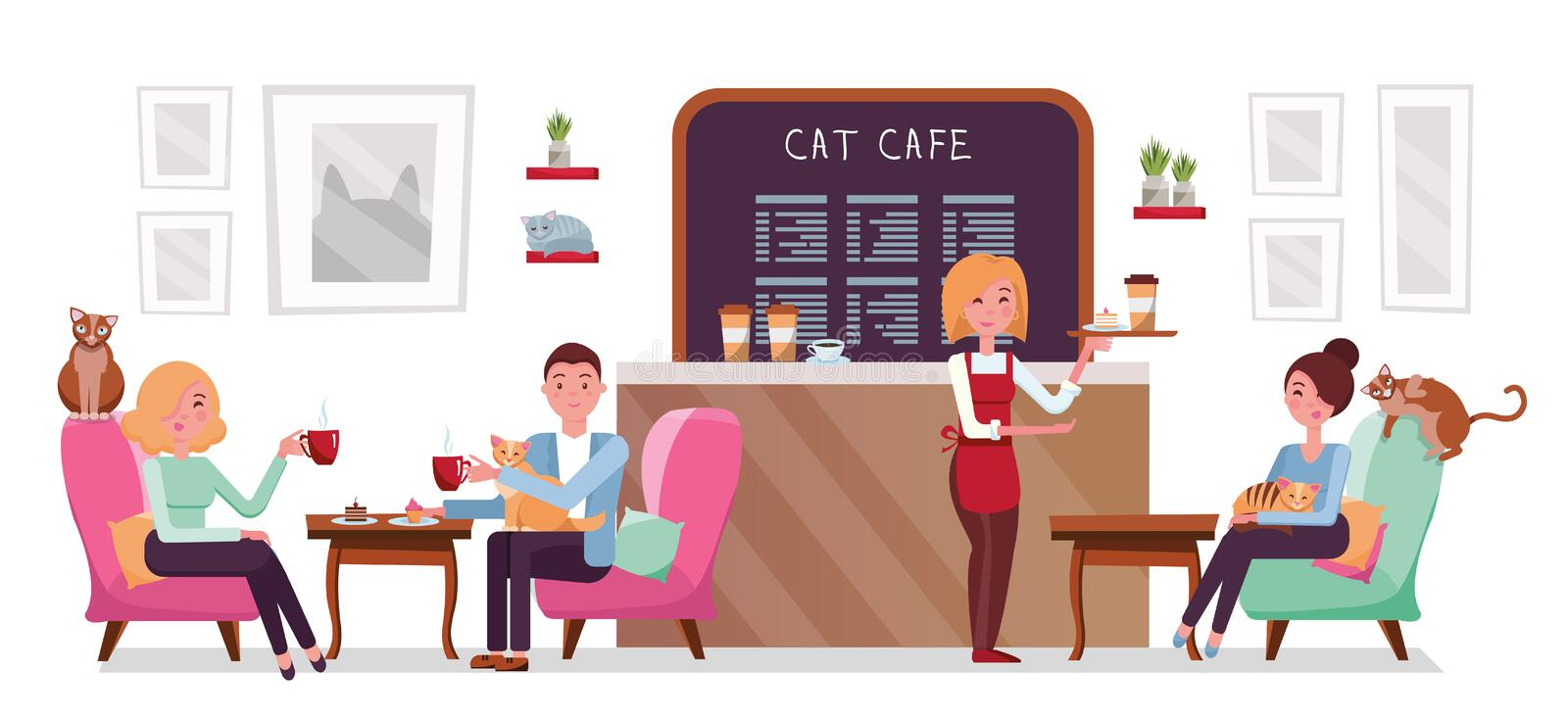 Cat cafe shop, people single and couple relaxing with kitties. Place interior to meet, have a rest with pets, waitress tray with. Cake and coffee. Vector flat vector illustration