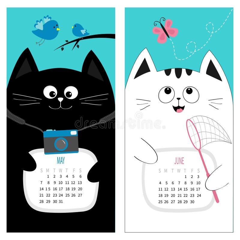 Free Cat Calendar 2017. Cute Funny Cartoon Character Set. May June Spring Summer Month. Photo Camera, Bird, Branch, Pink Butterfly Stock Photos - 81449493