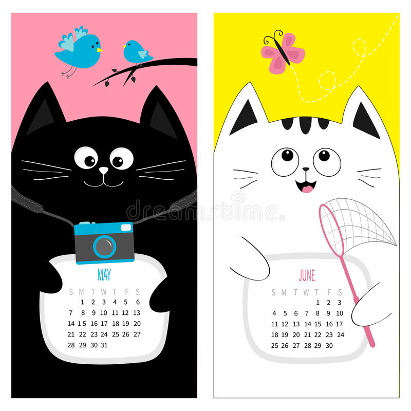 Free Cat Calendar 2017. Cute Funny Cartoon Character Set. May June Spring Summer Month. Photo Camera, Bird, Branch, Pink Butterfly Stock Photo - 82758620