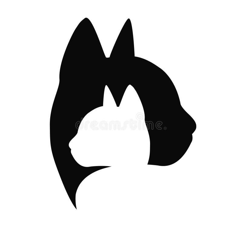 Cat care Logo Black color on white background. Isolated Vector Illustration. Paw pet symbol. Zoopsychology, shop. Logotype, web, concept, identity, clinic royalty free illustration