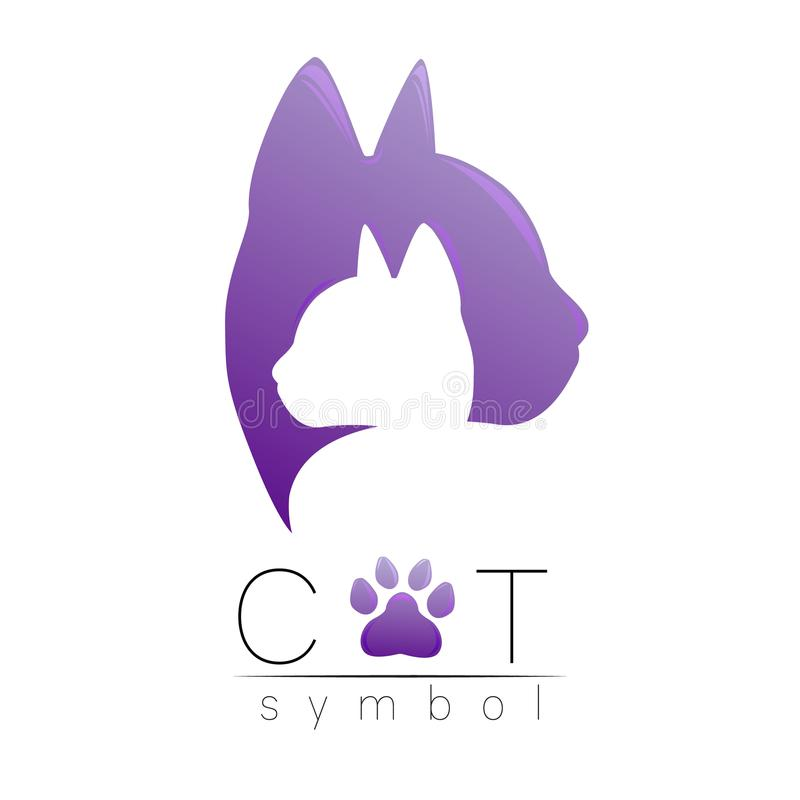 Cat care Logo Violet modern gradient on white background. Isolated Vector Illustration. Paw pet symbol. Zoopsychology. Shop, logotype, web, concept, identity vector illustration