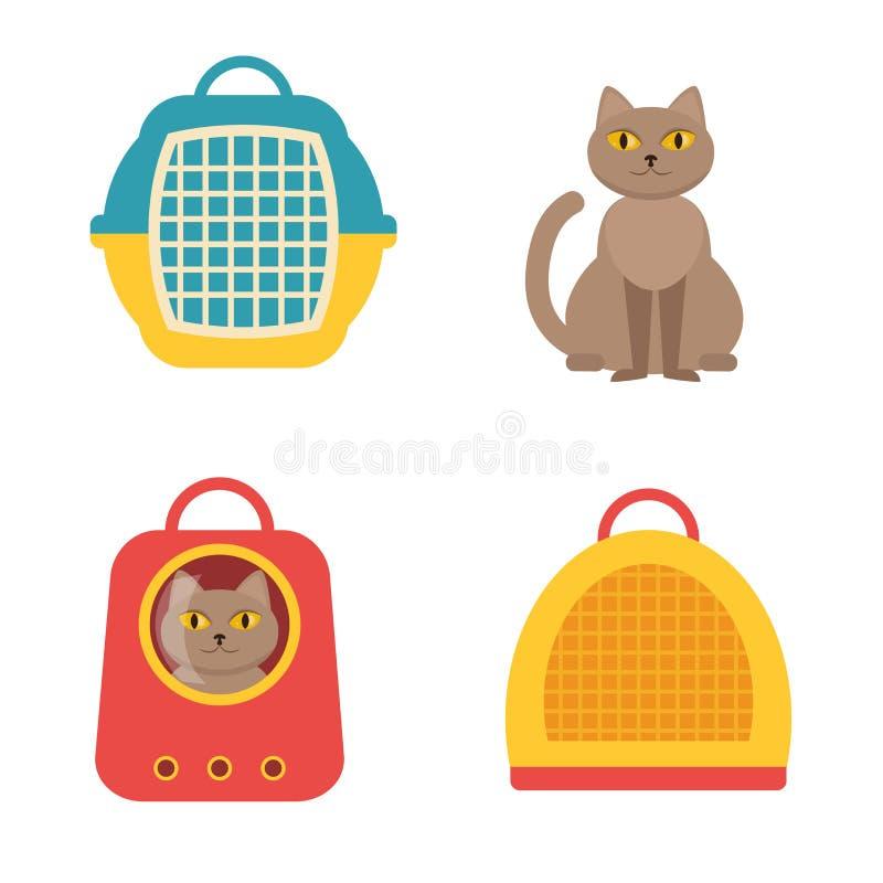 Cat Carrier Vetor isolado ilustração stock