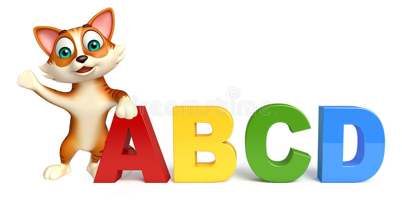 Cat cartoon character with ABCD sign stock illustration