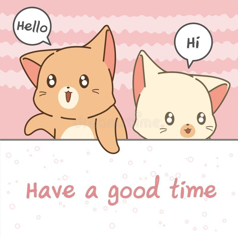 2 cat cartoon characters say hi. In cartoon style vector illustration