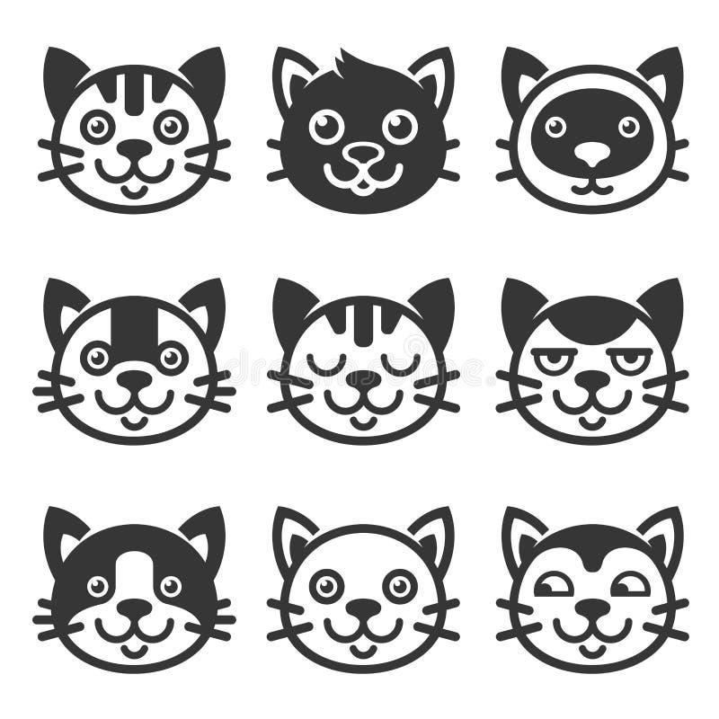 Cat Cartoon Face Icon Set Vector vector illustratie