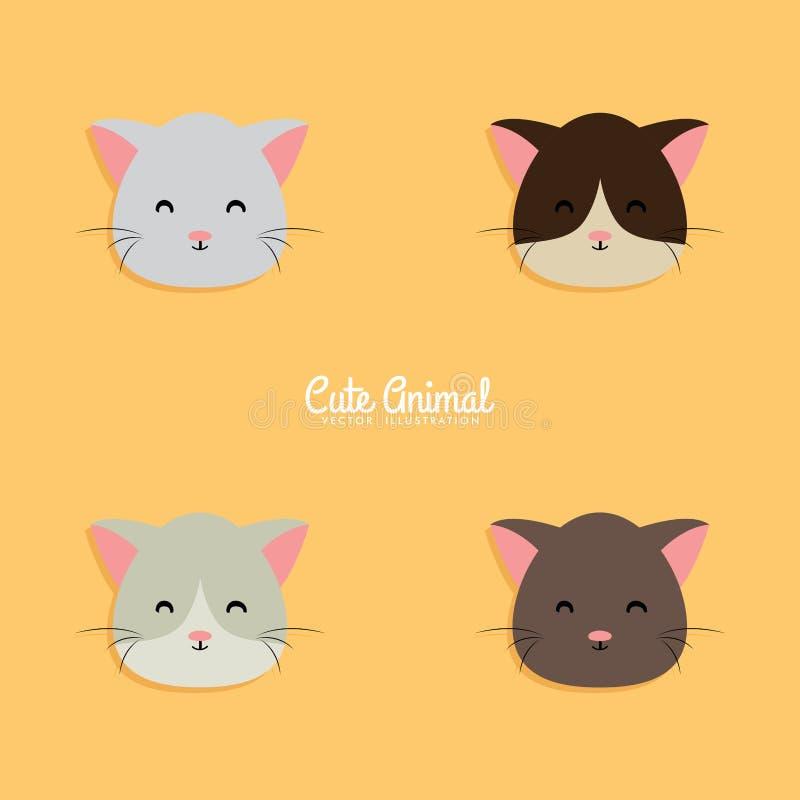 Cat Cartoon Faces ilustração stock