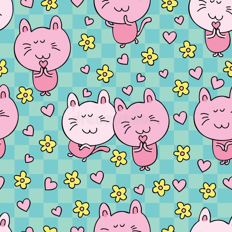 Free Cat Cartoon Love Flower Stock Photos - 50854413