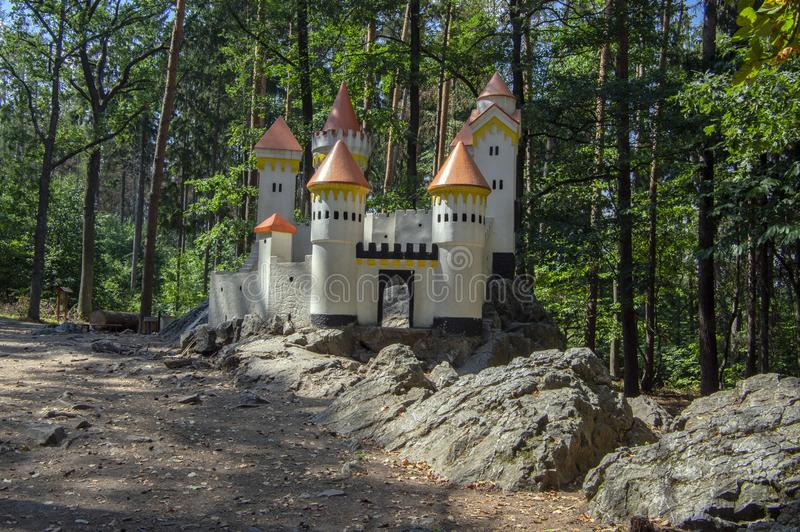 The Cat Castle romantic historic castle miniature with towers a children playground near village Slatinany in Czech republic stock photos