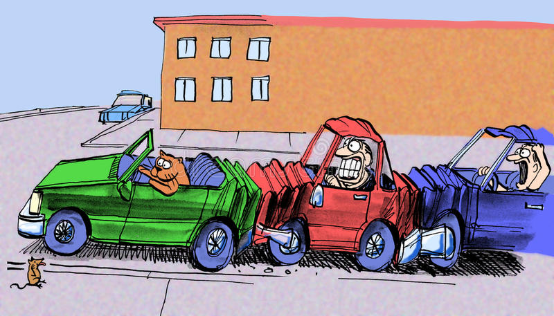 Cat causes accident by braking for mouse royalty free illustration