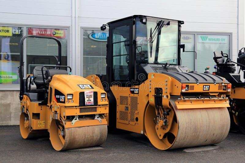 Cat CB22B and CB44B Paving Equipment on Asphalt Yard royalty free stock photo