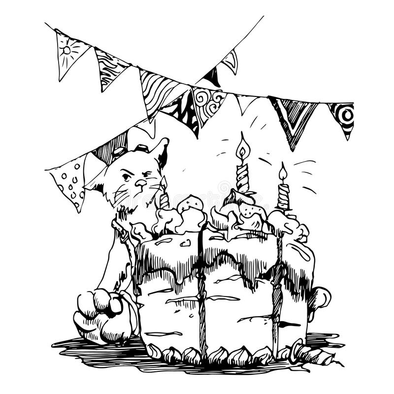 A cat celebrates a birthday. The cat does not want to share the cake. Illustration royalty free illustration
