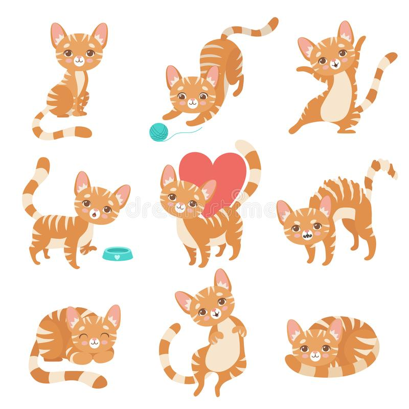 Cat Character vermelha engraçada bonito em várias poses e ilustração do vetor do grupo das situações ilustração do vetor