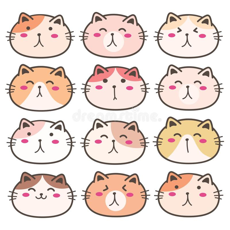 Cat Characters Set sveglia disegnata a mano royalty illustrazione gratis