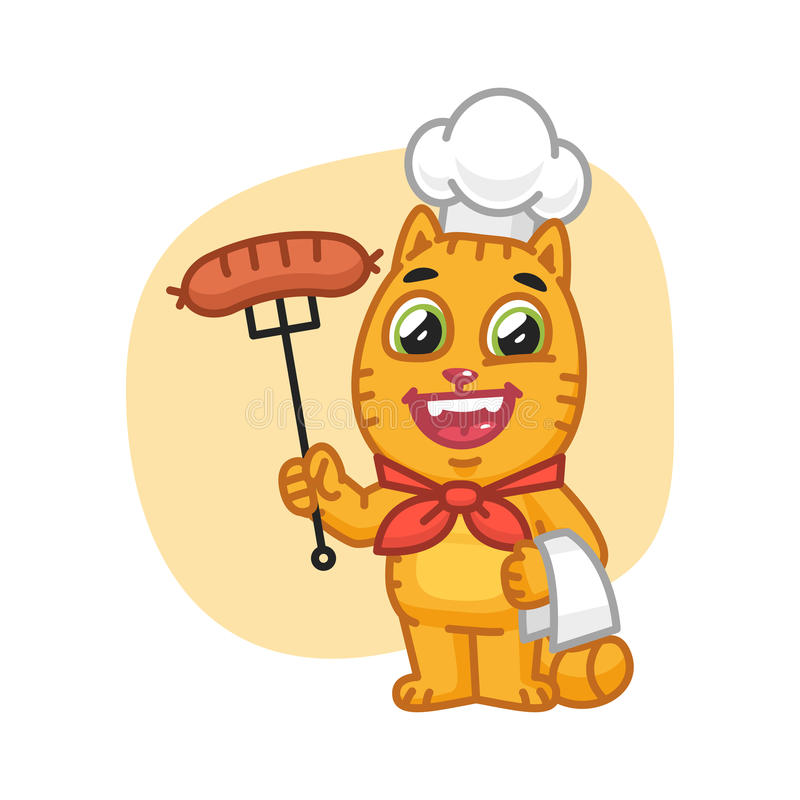 Cat Chef Holding Fork con la salchicha libre illustration