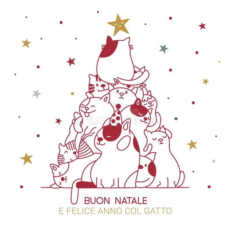 Cat Christmas tree with italian best wishes for holidays. royalty free stock photography