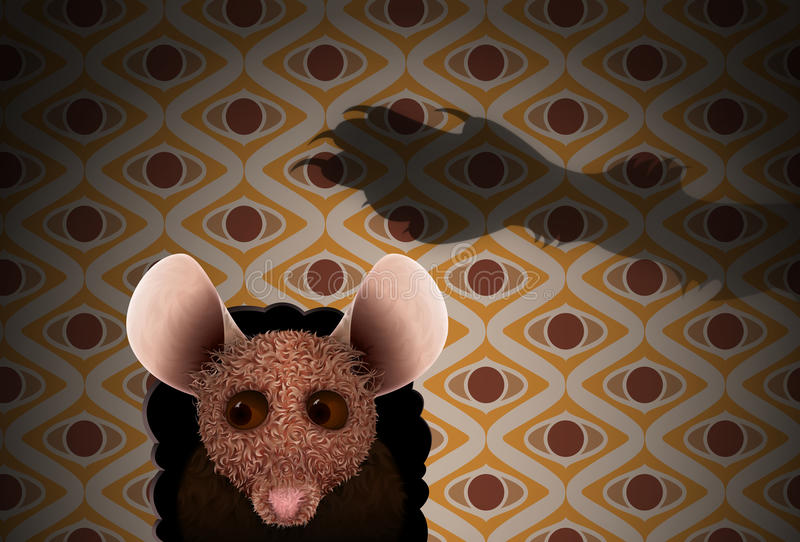 Cat claws hover over cautious mouse. Illustration of mouse looking out of mouse hole with shadow of cat paw over-head and retro wallpaper in the background stock illustration