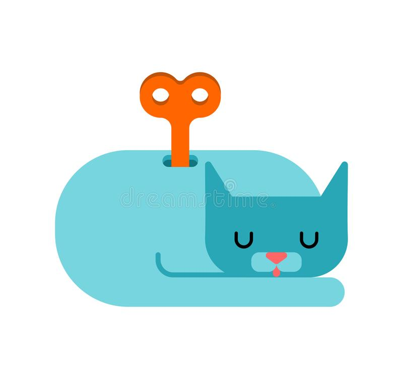 Cat clockwork toy isolated. Pet Vector illustration stock illustration