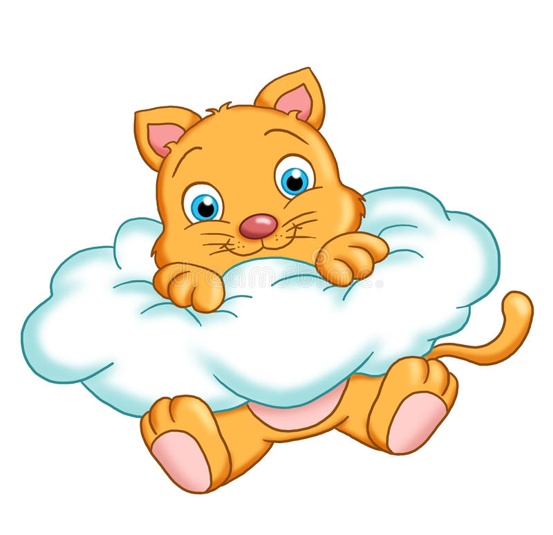 Download Cat on a cloud stock illustration. Image of white, illustrations - 19002835