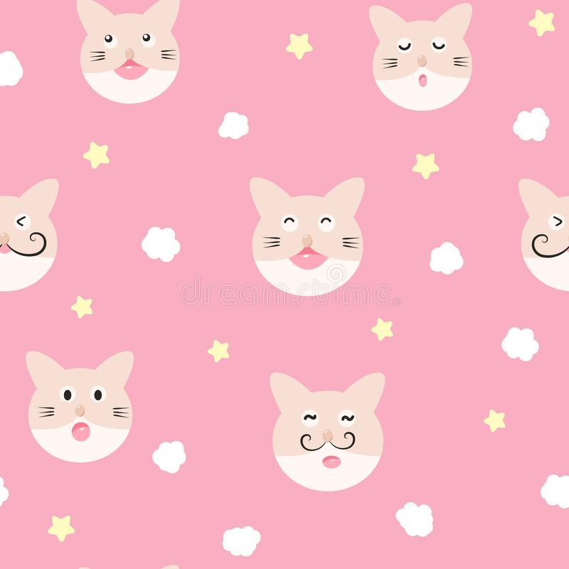 Cat, cloud and star, cute baby adorable seamless pattern, pajamas concept for childhood background texture vector royalty free illustration