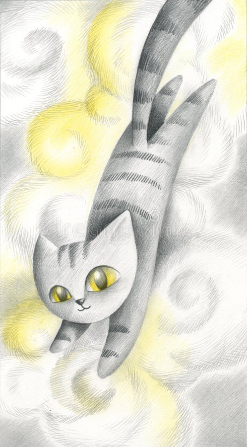 Download Cat In The Clouds - Artwork Stock Illustration - Image: 1377358