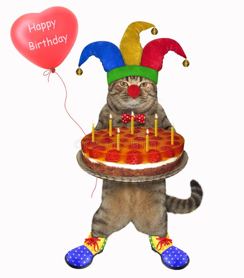 Cat clown with a cake and a balloon 2 royalty free stock photography