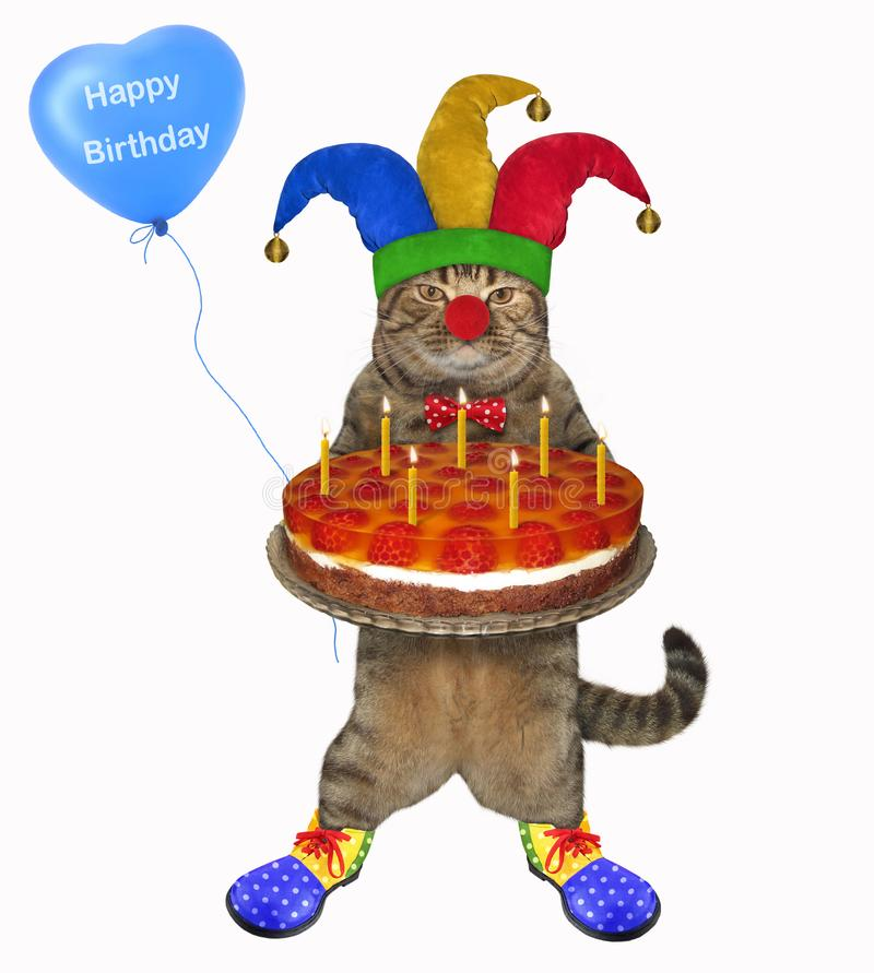Cat clown with a cake and a balloon royalty free stock photos