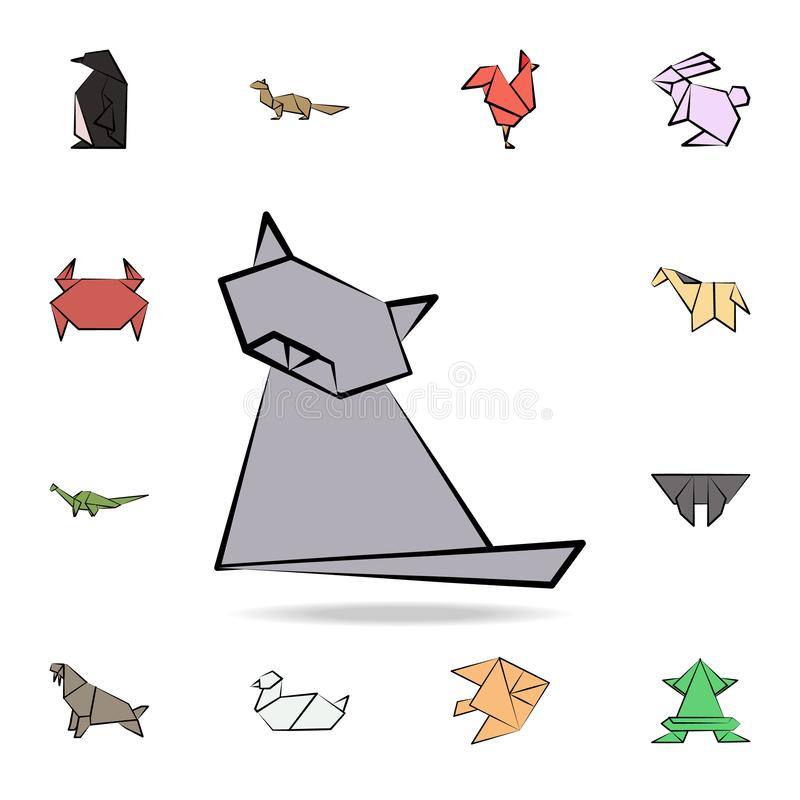 Cat colored origami icon. Detailed set of origami animal in hand drawn style icons. Premium graphic design. One of the collection. Icons for websites, web stock illustration