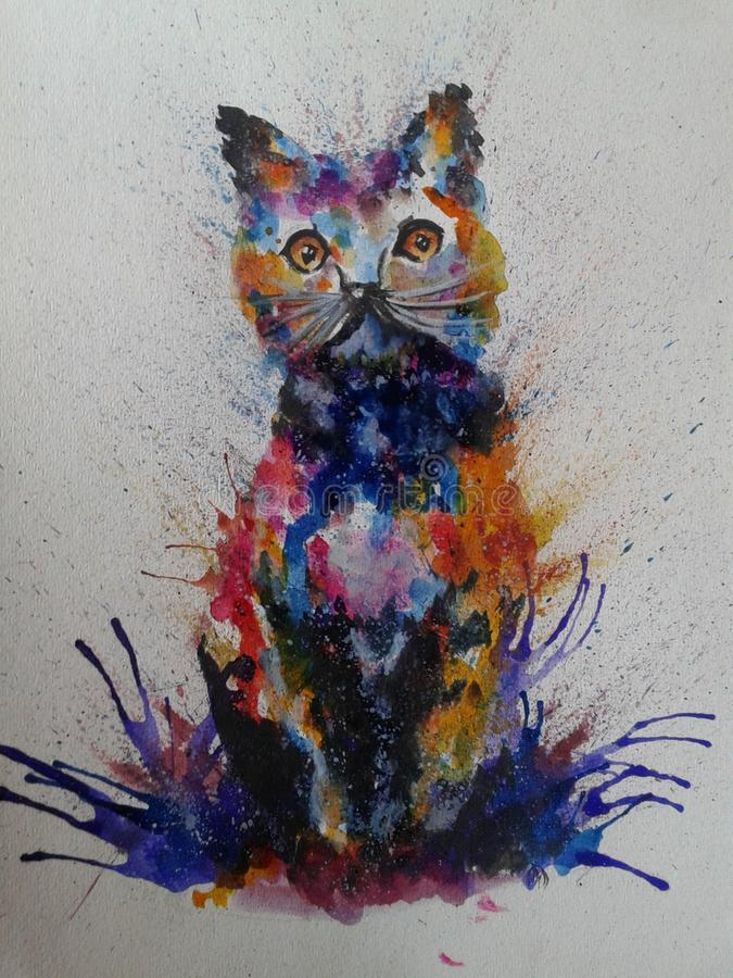 Cat Colorful Painting royalty free stock image