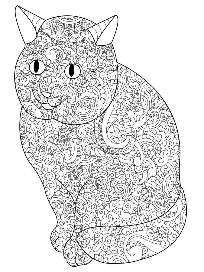 Cat Coloring bokvektor för vuxna människor royaltyfri illustrationer