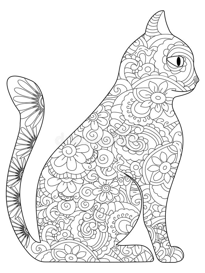 Cat Coloring book vector for adults. Cat animal coloring book for adults vector illustration. Anti-stress coloring for adult. Zentangle style. Black and white vector illustration